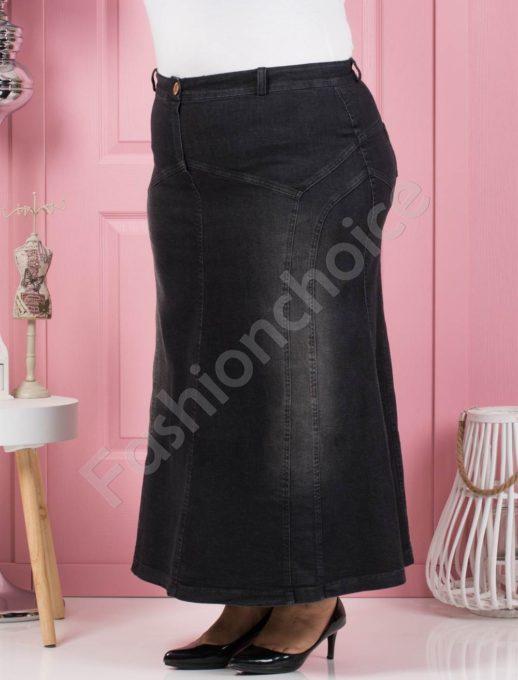 Τζιν μάξι φούστα σε μαύρο κωδ 107-1