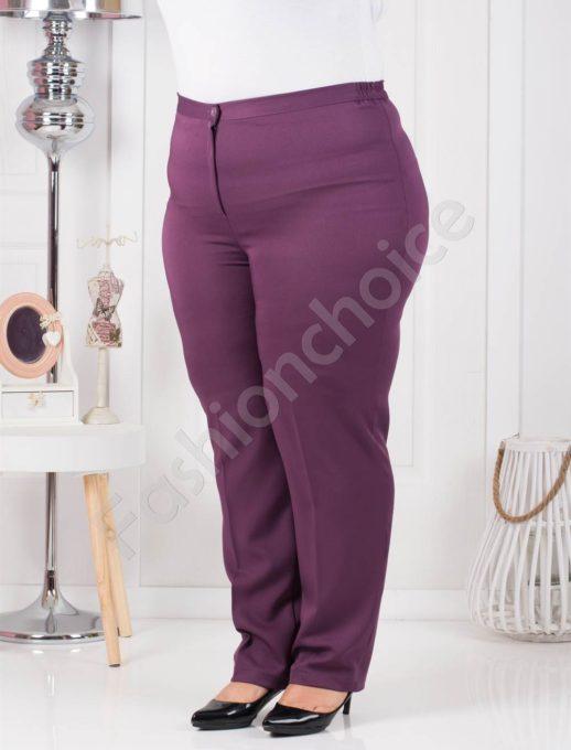 Μωβ παντελόνι σε κλασσική γραμμή plus size κωδ 013-3