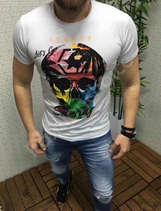 Λευκό T-shirt με χρωματιστό τύπωμα κωδ 6825-1
