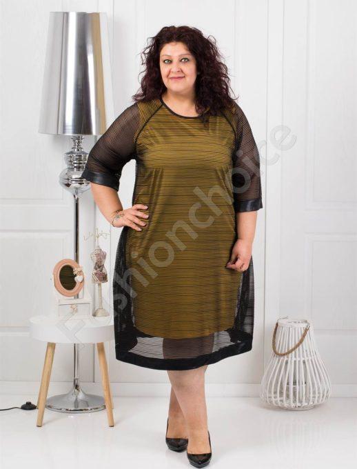 Διπλό φόρεμα με διαφάνεια σε μουσταρδί χρώμα κωδ 1167