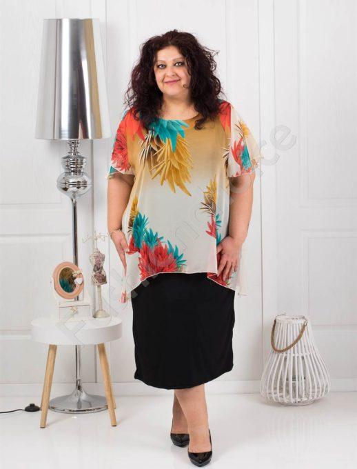 Φλοράλ διπλό φόρεμα-σιφόν κωδ 585-5