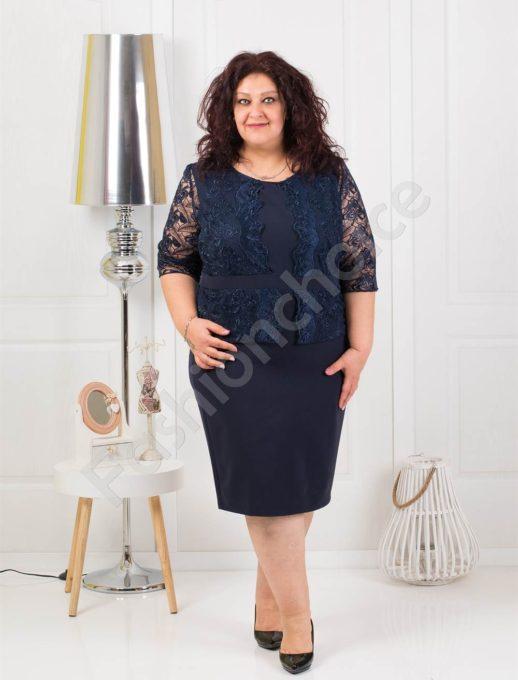 Μπλε φόρεμα με δαντέλα κωδ 012-1