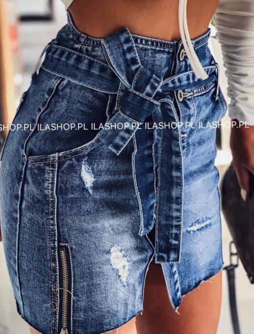 Τζιν μίνι φούστα με ζώνη κωδ 1224