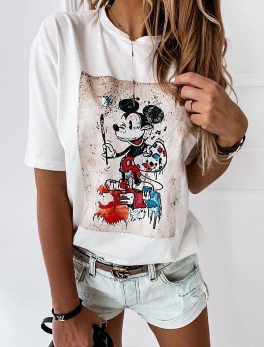 Μπλούζα με τύπωμα Mickey Mouse-λευκό κωδ 201-2