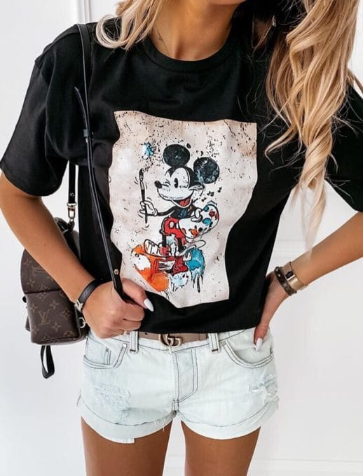 Μπλούζα με τύπωμα Mickey Mouse-μαύρο κωδ 201-1