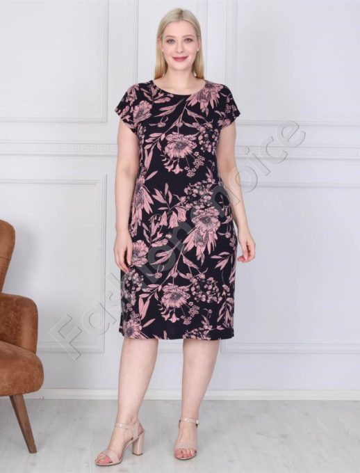 Φόρεμα σε μαύρο με ροζ λουλούδια κωδ 944-2
