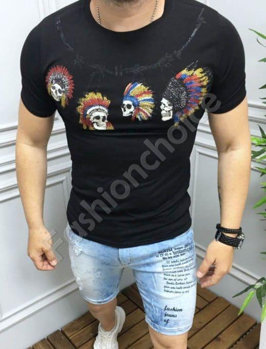 T-shirt με τύπωμα και στρας σε μαύρο κωδ 516