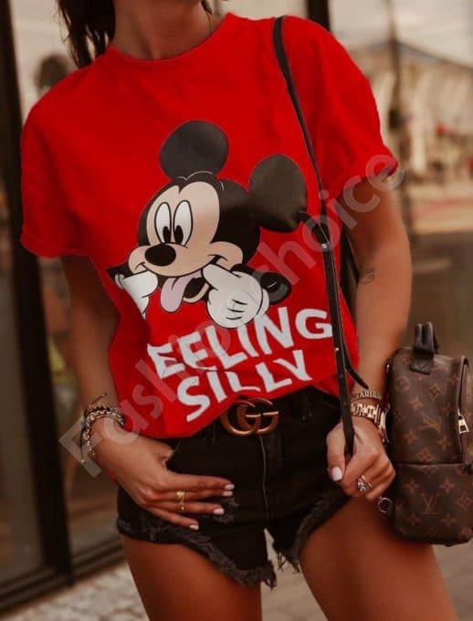Μπλούζα με τύπωμα Mickey Mouse σε κόκκινο κωδ 202
