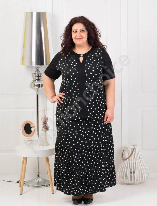 Μάξι σετ μπλούζα και φούστα σε μαύρο με πουά κωδ 1190
