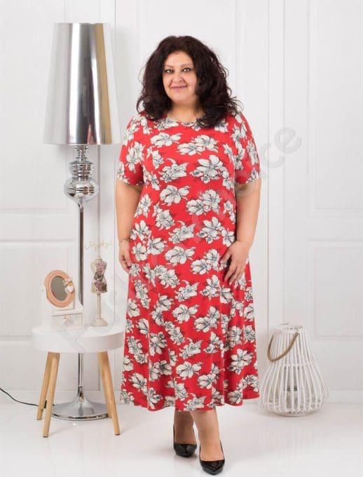 Φόρεμα σε κόκκινο με λουλούδια κωδ 088-4
