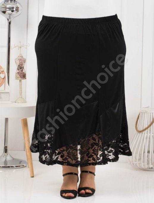 Μαύρη μάξι φούστα με δαντέλα κωδ 289