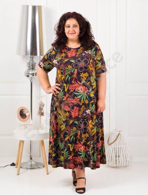 Φόρεμα σε τροπικά χρωματιστά σχέδια κωδ 088-6
