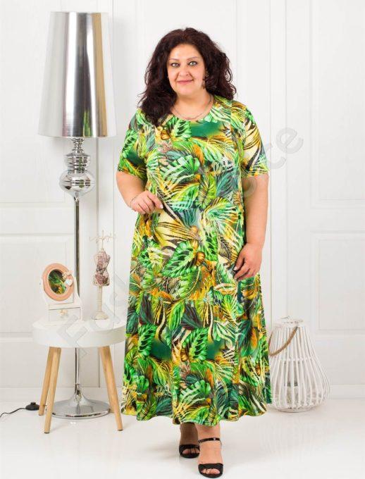 Μάξι φόρεμα σε τροπικά σχέδια-πράσινο κωδ 1110-8