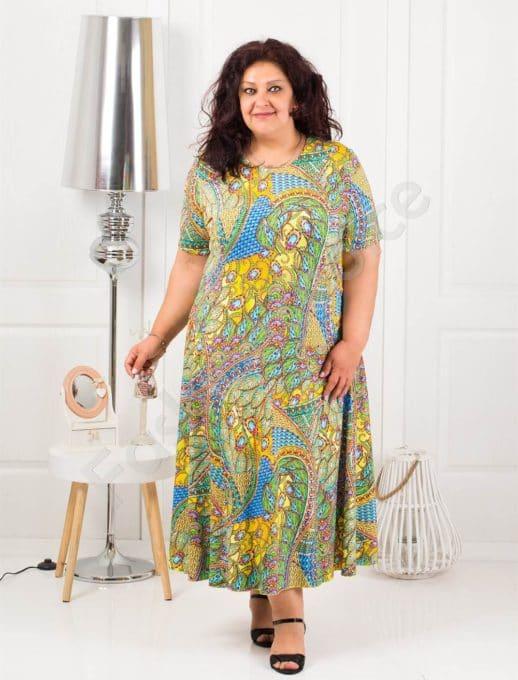 Μάξι χρωματιστό φόρεμα-κίτρινο κωδ 1110-7