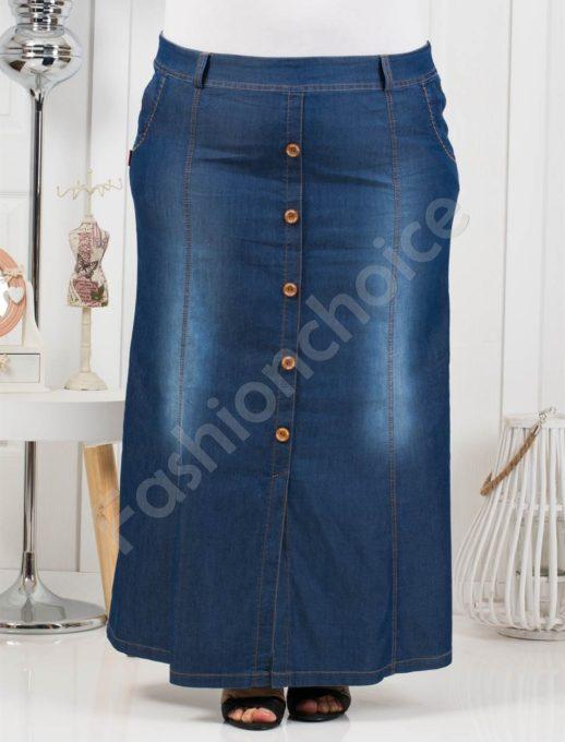 Τζιν μάξι φούστα με κουμπιά-λεπτό denim κωδ 230