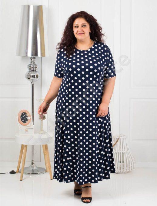 Φόρεμα σε σκούρο μπλε με πουά κωδ 088-8