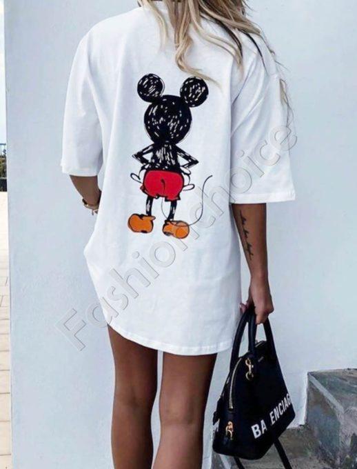 T-shirt με τύπωμα Mickey Mouse σε λευκό κωδ 969