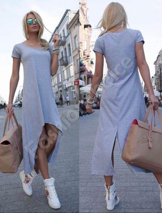Φόρεμα ασύμμετρο σε γκρι-κωδ 057-1