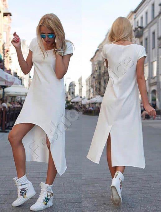 Φόρεμα ασύμμετρο σε λευκό-κωδ 057-2