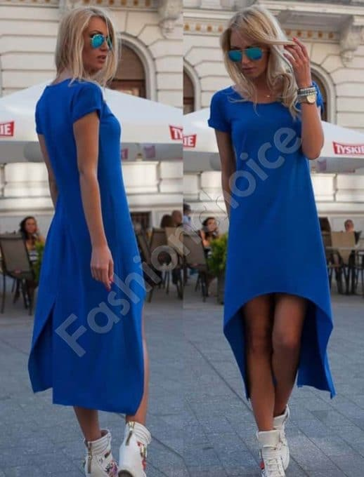 Φόρεμα ασύμμετρο σε μπλε ρουά-κωδ 057