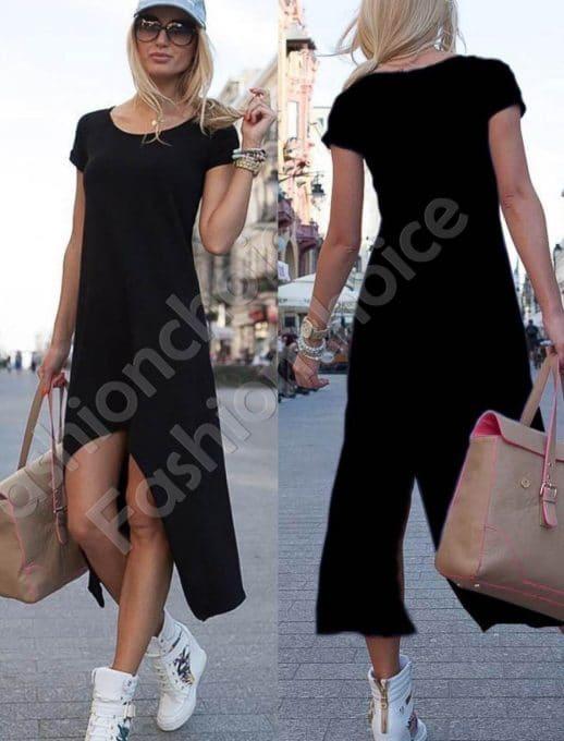 Φόρεμα ασύμμετρο σε μαύρο-κωδ 057-3