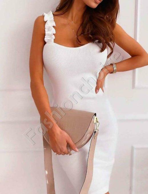 Φόρεμα pencil με τιραντες σε λεύκο-κωδ 486-3