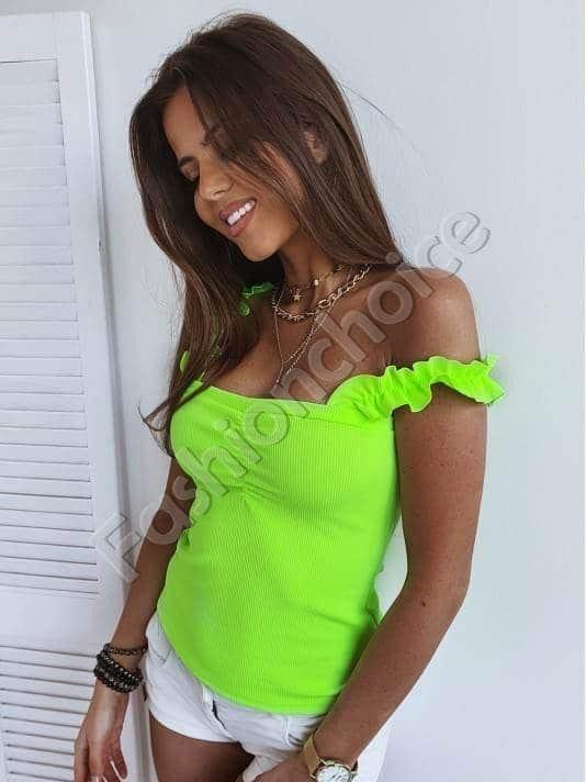 Γυναικείο τοπ ριπ με ραντάκια-neon πράσινο κωδ 984-6
