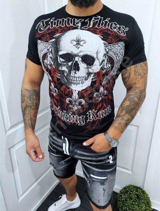 Μαύρο T-shirt με τύπωμα νεκροκεφαλή και στρας-κωδ 067