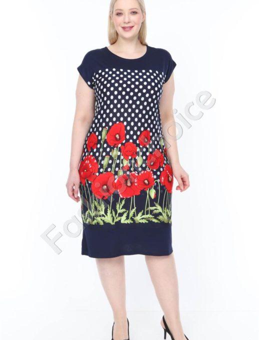 Μπλε φόρεμα με πουά και παπαρούνες κωδ 944-24
