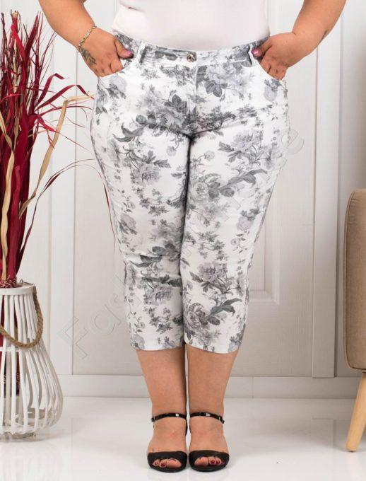 Παντελόνι κάπρι plus size λευκό με μαύρα λουλούδια κωδ 988-6