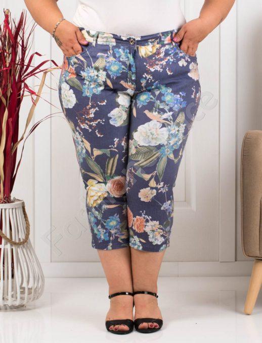 Παντελόνι κάπρι plus size μπλε με κίτρινα λουλούδια κωδ 988-5