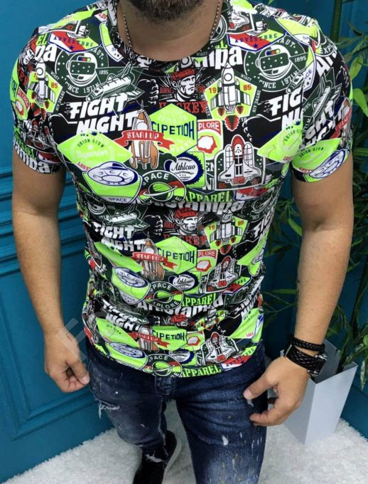T-shirt με Cartoon Print-neon πράσινο κωδ 19730-1