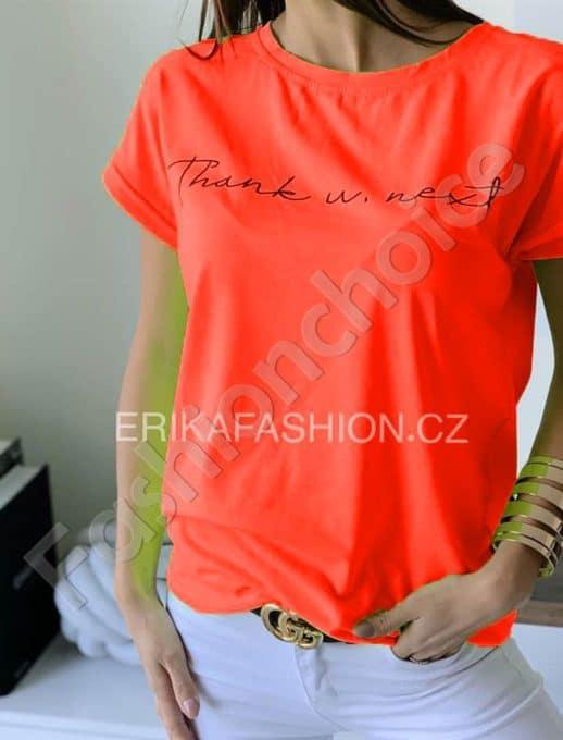 Μπλούζα με επιγραφή σε neon πορτοκαλί κωδ 965-10