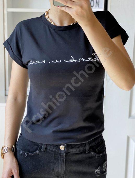 Μπλούζα με επιγραφή σε μαύρο κωδ 965-14