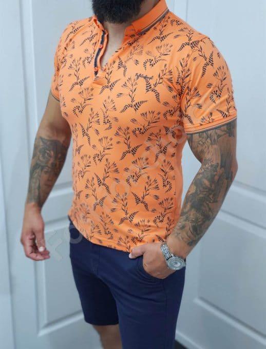Πόλο μπλούζα πορτοκάλι με φλοράλ ντεσέν κωδ 1058