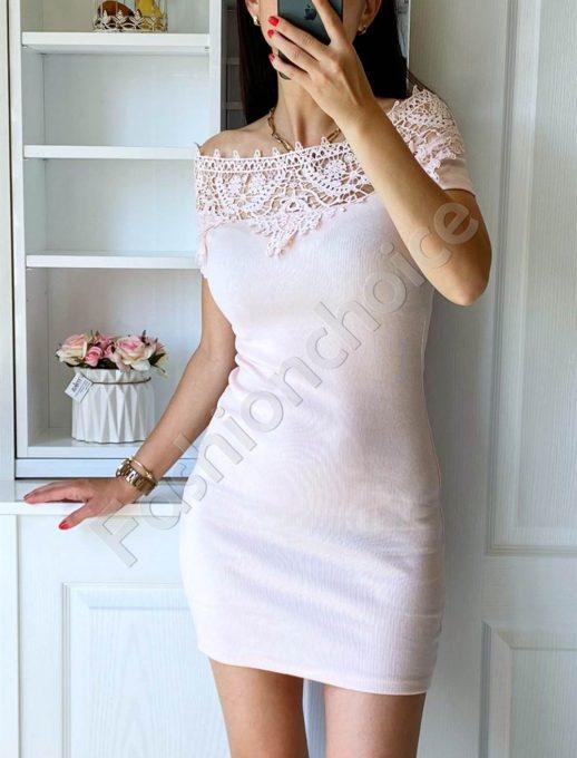 Ροζ pencil φόρεμα με δαντέλα στο ντεκολτέ κωδ 2227-3