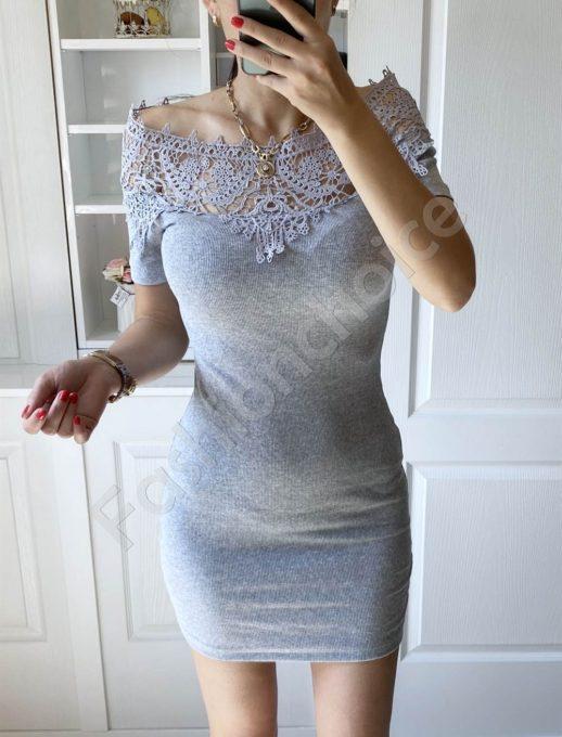 Γκρι pencil φόρεμα με δαντέλα στο ντεκολτέ κωδ 2227-4