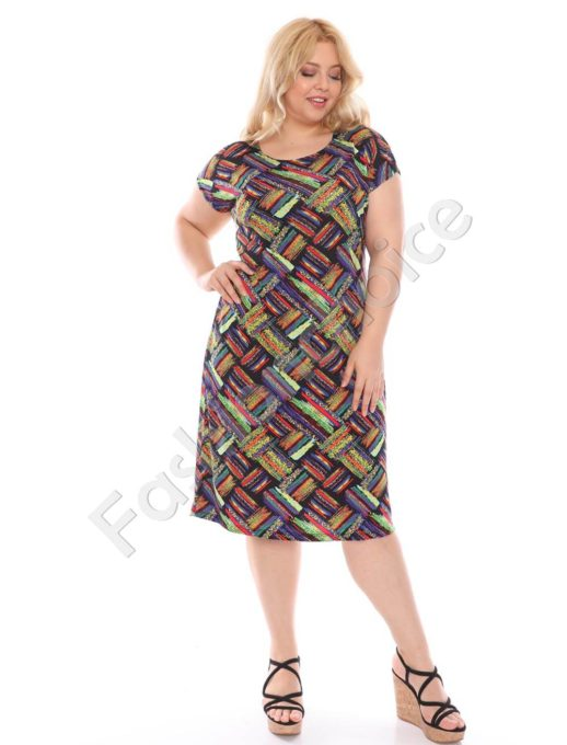 Plus size φόρεμα σε χρωματιστό ντεσέν κωδ 944-28