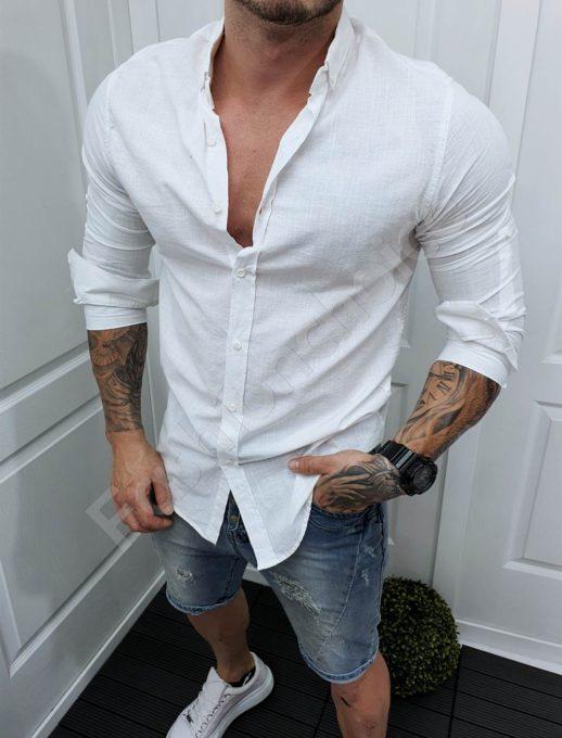 Ανδρικό πουκάμισο βαμβακερό σε λευκό/Μ-5XL/-κωδ 991-3