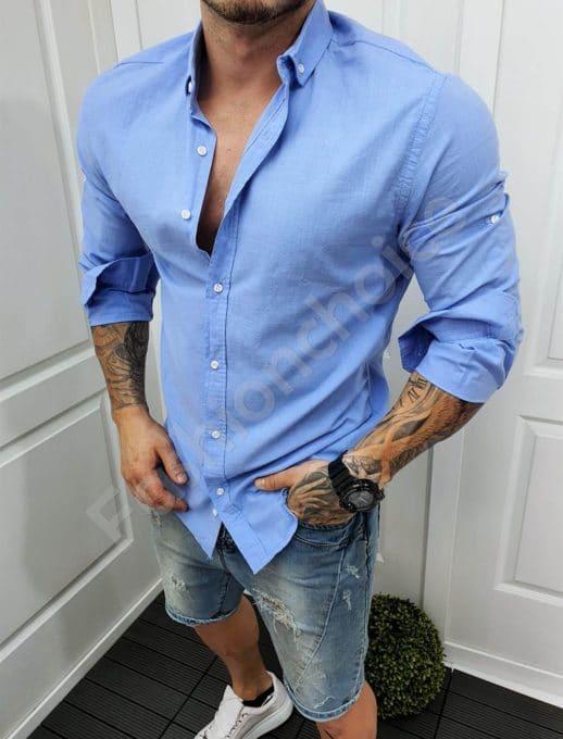 Ανδρικό πουκάμισο βαμβακερό σε μπλε/Μ-5XL/-κωδ 991-5