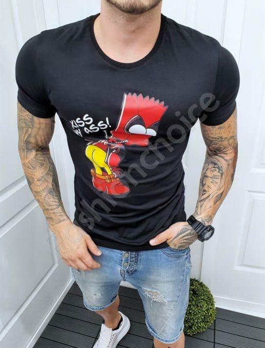 Μαύρο T-shirt με Cartoon Print-κωδ 5186