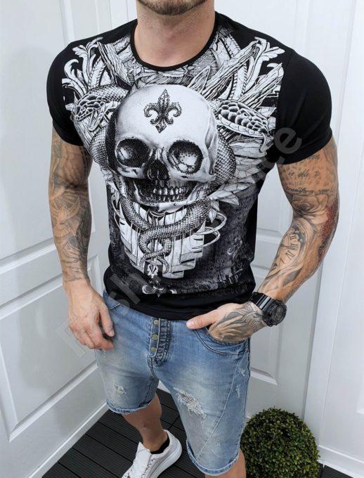 T-shirt ασπρόμαυρο με τύπωμα νεκροκεφαλή και στρας-κωδ 065
