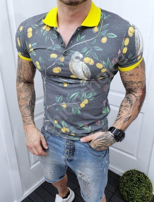 Πόλο μπλούζα με τύπωμα παπαγάλους γκρι-κίτρινο κωδ 2504