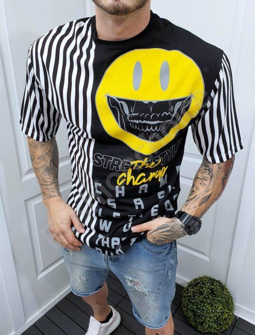 Μαύρο T-shirt OVERSIZE με τύπωμα και ριγέ-κωδ 994-2