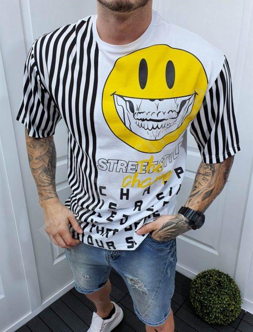 Λευκό T-shirt OVERSIZE με τύπωμα και ριγέ-κωδ 994-3