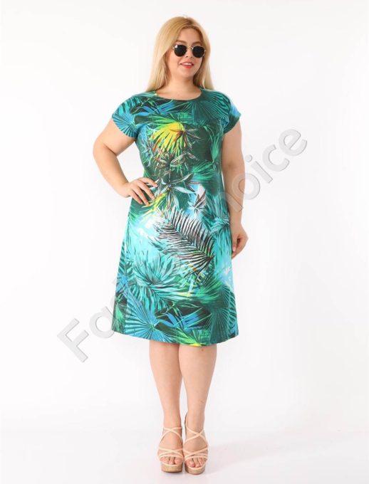 Plus size φόρεμα σε τυρκουάζ με τροπικά σχέδια κωδ 944-29