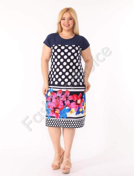 Plus size φόρεμα σε μπλε με πουά και λουλούδια κωδ 944-30