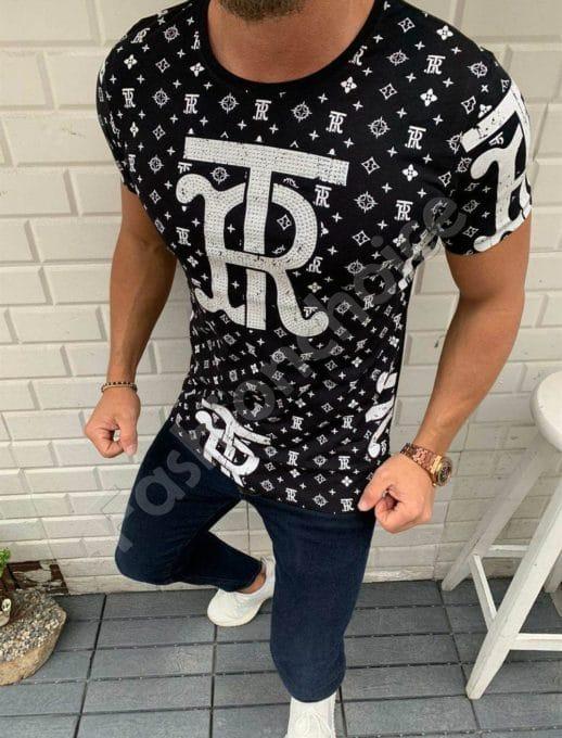 T-shirt TR με στρας σε μαύρο κωδ 332-1