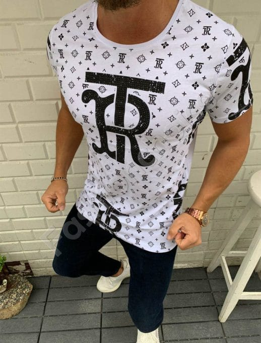 T-shirt TR με στρας σε λευκό κωδ 332