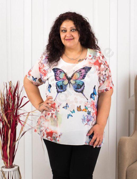 Μπλούζα με τύπωμα πεταλούδα και κοράλι λουλούδια-κωδ 105-3